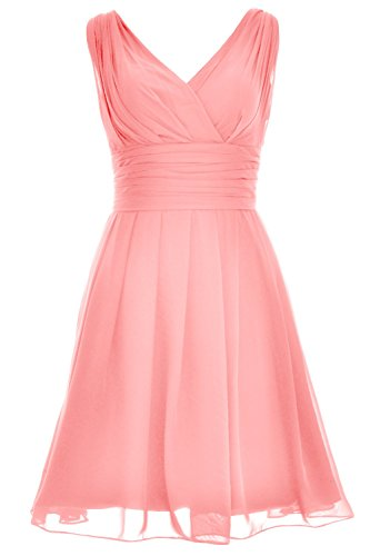 MACloth Women V Neck Backless Short Bridesmaid Dress Wedding Party Cocktail Gown Blush Pink