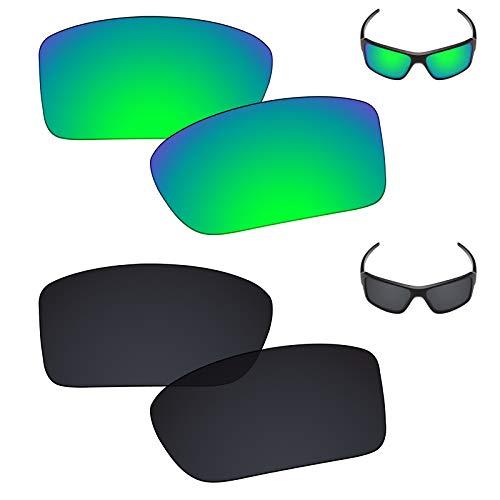 Galvanic Replacement Lenses for Oakley Double Edge Sunglasses - Jade + Black Polarized - Combo ()