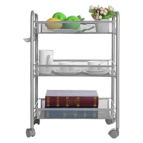 (Shelf,3-Tier Mesh Wire Basket Rolling Kitchen Storage Cart with Wheels,Shelving Durable Bathroom Stand with 3 Mesh Basket Shaped Shelves by BBtime)
