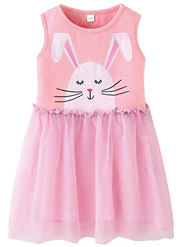 Fiream Big Girls Pink Easter Bunny Tutu Dresses in Soft Tulle(JP011,9-10Y)