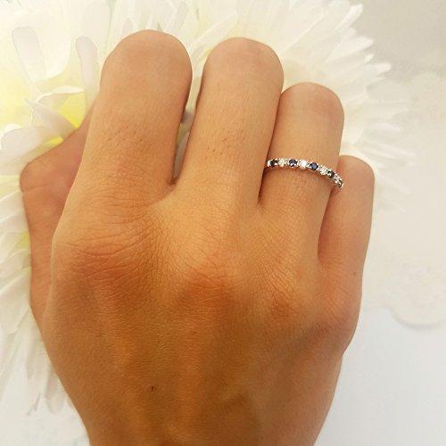 10K White Gold Round Blue Sapphire And White Diamond Ladies Anniversary Wedding Band Enhancer Guard