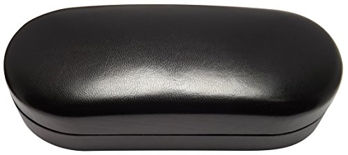 O'Meye Hard Shell Eyeglass & Sunglasses Case 2 Piece Set For Men & Women - MS87 Black Imitation Leather Case & Microfiber Pouch (NO cleaning cloth) (Sand Glass Case)