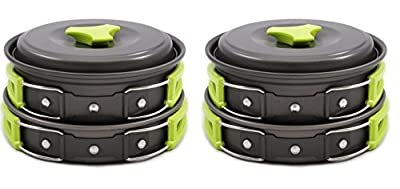 Camping Cookware Mess Kit Backpacking Gear & Hiking Outdoors Bug Out Bag Cooking Equipment 10 Piece Cookset | Lightweight, Compact, & Durable Pot Pan Bowls - Free Folding Spork, Nylon Bag, & Ebook from Mallome