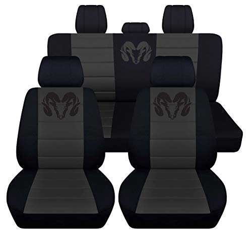 40 20 40 Front and Rear Seat Covers for 2013 to 2018 Dodge Ram 22 Color Options (Solid Rear Bench, Black Charcoal)