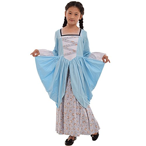 Colonial Lady Child Costumes (GRACEART Pioneer Pilgrim Girl Colonial Kids Costume Blue)