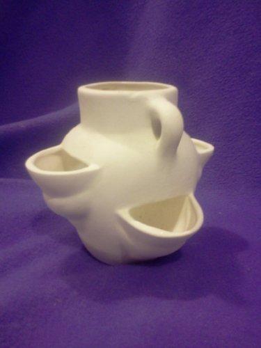 "Sm Strawberry Planter 5"" ready to paint ceramic bisque, glazed inside"