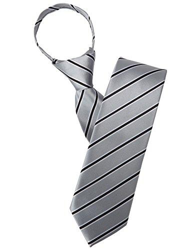 Zipper Shine Stripe Patterned Neck Tie GRAY ONESIZE (KMANT0104) (Gray Stripe Tie)