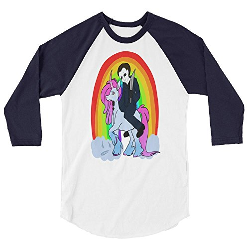 Michael Myers Rainbow Unicorn Halloween Funny Horror Cult Film Cool Movies Printed Designs Wardrobe 3/4 sleeve raglan shirt (Cult Halloween Movies)