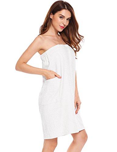 Price comparison product image Ekouaer Women's Washable Cotton Towel Spa Shower Bath Wrap with Pocket Beige Large
