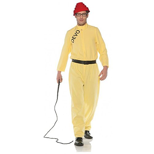 Underwraps Adult Yellow Jumpsuit Devo Costume Whip It!, Size 42