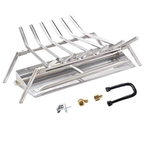 Skyflame 24-inch Fireplace Log Grate with Dual Burner Pan and Connection Kit for Natural Gas, 304 Stainless Steel (Log Outdoor Burner)