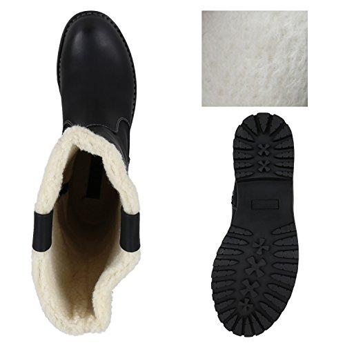 Stiefelparadies Damen Schuhe Stiefeletten Warm Gefütterte Winterboots Profilsohle Stiefel Flandell Schwarz Cabanas