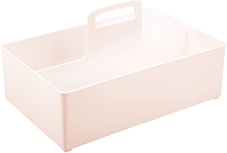 Clothes Toys /& More /— Kitchen Bedroom or Playroom Storage Container with 2 Compartments /— Light Purple mDesign Nursery Storage Box with Handle /— Extra Large Plastic Baby Organiser Box for Nappies