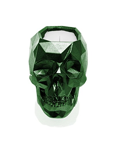 Candellana Candles Candlefort Candles Concrete Skull-Orient Wood, Green Metallic