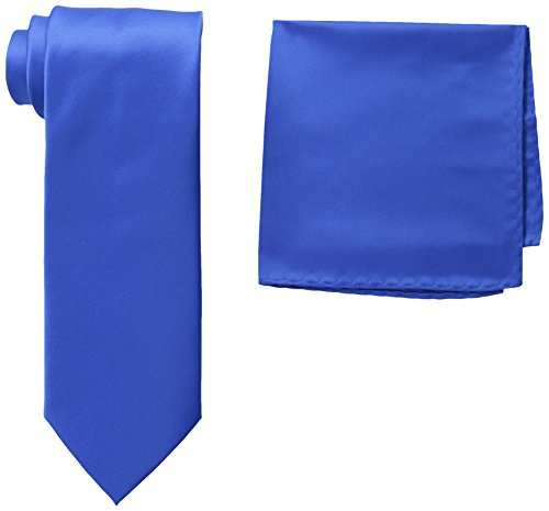 Stacy Adams Men's Tall-Plus-Size Satin Solid Tie Set Extra Long, Royal, One Size (Solid Mens Neckwear)