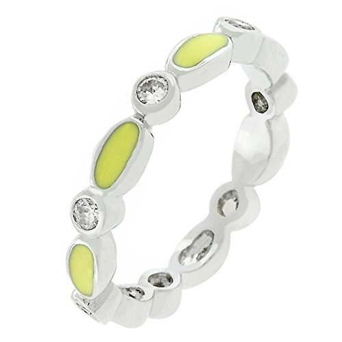 - Freedom Fashion Yellow Link Enamel Stacker Ring