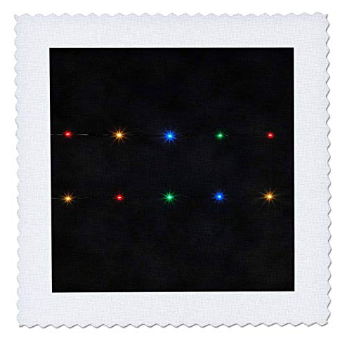 - 3dRose Taiche - Acrylic Painting - Abstract Minimalism - Decorative String Lights On Black Background - 22x22 inch Quilt Square (qs_303298_9)