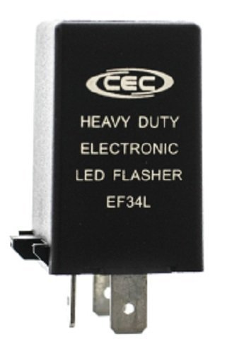 CEC Industries EF34L Electronic Turn Signal Flasher Relay, LED Compatible, 3 Prongs, 12 Volts
