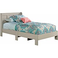 Modern Parklane Twin Platform Bed and Headboard in Cobblestone Finish