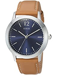 GUESS Mens Quartz Stainless Steel and Leather Casual Watch, Color:Brown (Model: U0922G8)