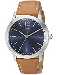GUESS Men's Quartz Stainless Steel and Leather Casual Watch, Color:Brown (Model: U0922G8)
