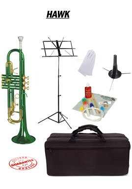 Hawk Green Bb Trumpet School Package with Case Music Stand Trumpet Stand and Cleaning Kit WD-T314-GR-PACK by Hawk