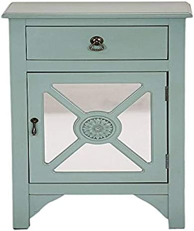 Heather Ann Creations Single Drawer Wooden Cabinet with 4 Medallion Mirrored Inserts, 30 x 18 , Turquoise