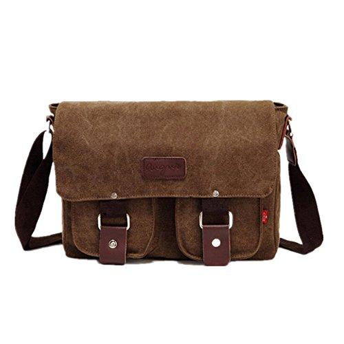 Sunbobo Bolso de hombro de la bolsa de mensajero de la lona con cremallera retro simple Color Marrón