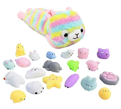 Shark Shop Mochi Squishy Toys Pack - Free Kawaii Carrying Bag| Random Package of Mini Variety Animals Squishies Case (10 Pack, Alpaca)