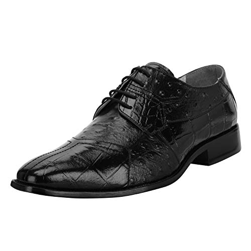 Liberty Men's Croco Ostrich Print PU Synthetic Leather Lace Up Dress Shoes Black