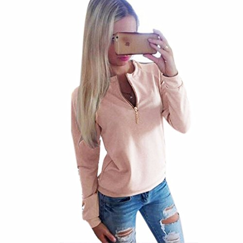 zipper v cou manches longues s roses des femmes casual t-shirt pull actif tee s
