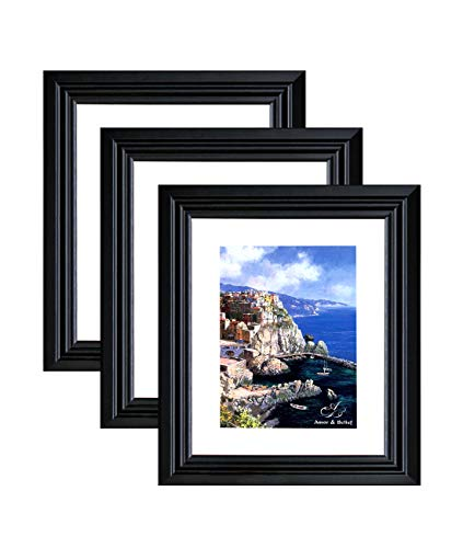 Amistad 8x10 Black Picture Frame with Mat for 5x7, 3 Pack, Dual-use Stable Composite Wood Photo Frame Set with Classic Simple Style Designed for Your Family Photo, Portrait, Artwork Etc. ()