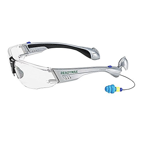ReadyMax SoundShield Construction Style, Silver Frame, Clear Anti-Fog, Scratch Resistant Safety Glasses w/Built in Hearing Protection