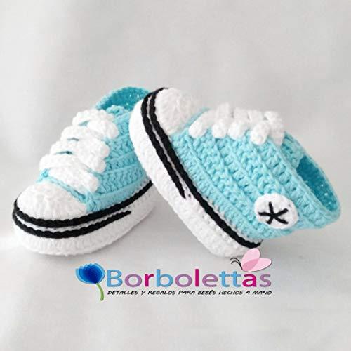 Patucos para Bebé, tipo Converse, 3-6 meses, Agua Azul. Hecho a Mano. España: Amazon.es: Handmade