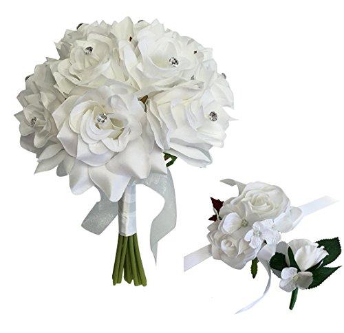 - Angel Isabella 3pc Set-Keepsake Beautiful Rose Bouquet,Wrist Corsage,and Boutonniere(White)