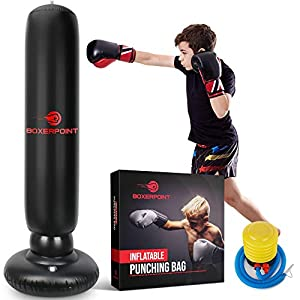 "Well-Being-Matters 41iOZ8kePwL._SS300_ BOXERPOINT Inflatable Punching Bag for Kids and Adults - 63"" High Boxing Blow Up Training Bag with Stand - Strong Kid Bop Bag for Kickboxing Practice - Bounce Back Freestanding Punch Bag Gift Set"
