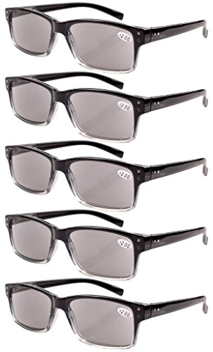 Eyekepper 5-Pack Spring Hinges Vintage Reading Glasses Men Sunshine Readers +1.5