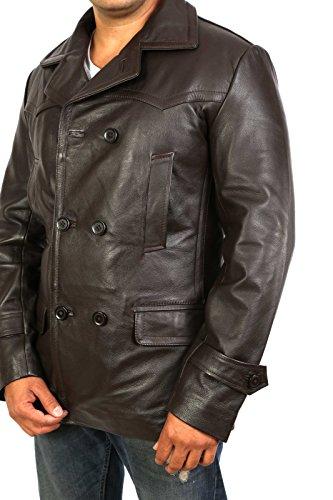 quadretti trench Giacca foderata in Ernest marrone fit pelle in slim pelle a militare Fashion donna A1 Cappotto Goods IFxw6qwR