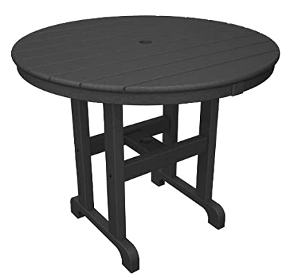 Amazoncom POLYWOOD RTGY Round Dining Table Inch Slate - 36 round outdoor dining table