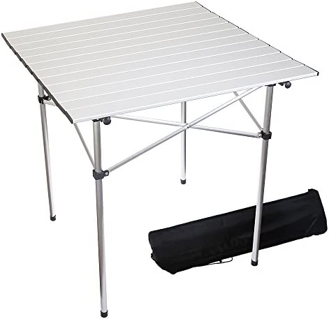 Forbidden Road Portable Aluminum Folding Camping Table 27.5 L x 27.5 W x 27.5 H Lightweight Picnic Table with Storage Bag, Stable Durable Easy Set Up for Outdoor Indoor – Silver