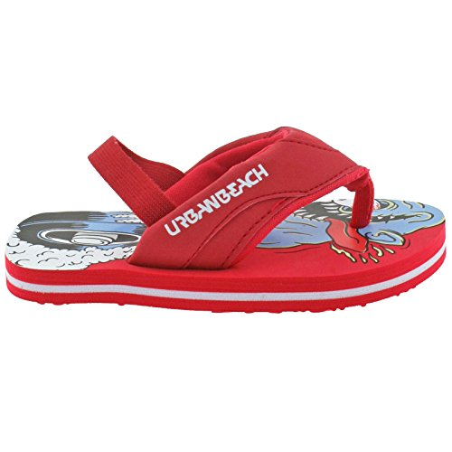 BOYS INFANTS URBAN BEACH NANG RED SLING BACK BEACH FLIP FLOPS SANDALS-UK 5 (EU 21/22)