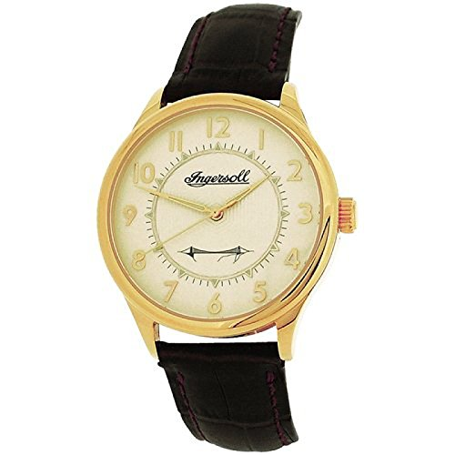 Ingersoll Men Goldtone Mechanical Watch Brown Genuine Leather Strap INJA001GDBR