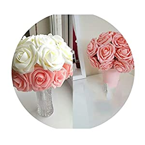 YP-fashion 10 Heads 8CM Pretty Charming Artificial Flowers Foam Rose Flowers Bride Bouquet Home Wedding Decor Scrapbooking 55