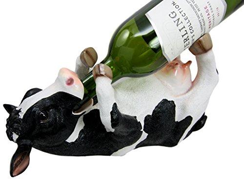 Cow Wine Bottle - Atlantic Collectibles Grassland Cattle Bovine Cow Wine Bottle Holder Caddy Figurine