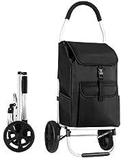 Foldable Aluminium Shopping Cart Trolley Bag Dolly w/Wheels Black