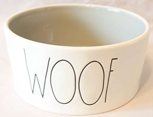 Woof Dish Dog - Rae Dunn Magenta Ceramic Large Pet Food Bowl Cat Dog Dish Woof - Cream/Light Grey