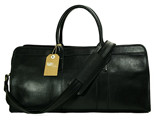 Top Grain Calf Leather 20'' Weekender Overnight Travel Duffel in Black by Leftover Studio by Leftover Studio (Image #7)