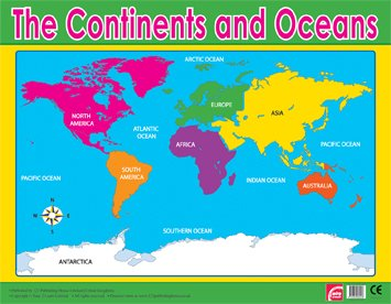 Worksheet. Geography Continents and Oceans Learning Chart Poster Amazonco