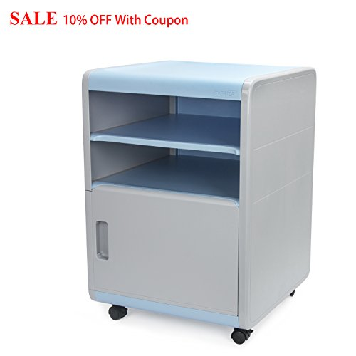 FINE Dragon 3-Drawer Under Desk Office Cabinet Storage ABS Plastic Combination Lock Mobile File Cabinets Security Night Stand/End Table (C1 Blue)