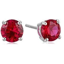 Sterling Silver 7 mm Gemstone Round Stud Earrings